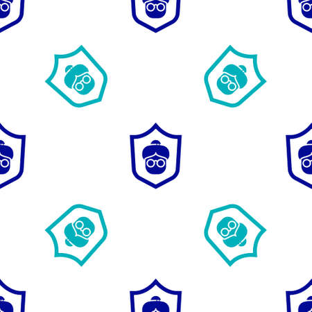 Blue Grandmother icon isolated seamless pattern on white background. Vector Illustration