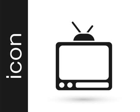 Black Retro tv icon isolated on white background. Television sign. Vector