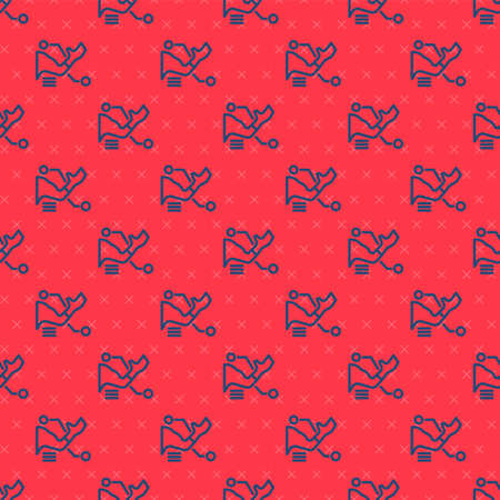 Blue line Prosthesis hand icon isolated seamless pattern on red background. Futuristic concept of bionic arm, robotic mechanical hand. Vector