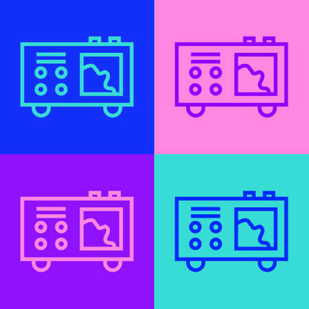 Pop art line Spectrometer icon isolated on color background. Vector 矢量图像