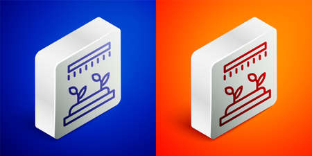 Isometric line Automatic irrigation sprinklers icon isolated on blue and orange background. Watering equipment. Garden element. Spray gun icon. Silver square button. Vector