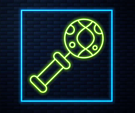 Glowing neon line DNA research, search icon isolated on brick wall background. Magnifying glass and dna chain. Genetic engineering, cloning, paternity testing. Vector 矢量图像