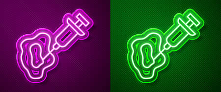 Glowing neon line GMO syringe icon isolated on purple and green background. Genetically modified organism acronym. Dna food modification. Vector