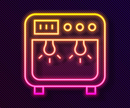 Glowing neon line Biosafety box icon isolated on black background. Vector 矢量图像