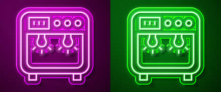 Glowing neon line Biosafety box icon isolated on purple and green background. Vector