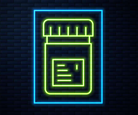 Glowing neon line Biologically active additives icon isolated on brick wall background. Vector