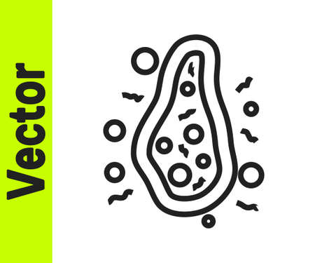 Black line Bacteria icon isolated on white background. Bacteria and germs, microorganism disease causing, cell cancer, microbe, virus, fungi. Vector