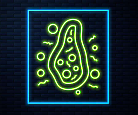 Glowing neon line Bacteria icon isolated on brick wall background. Bacteria and germs, microorganism disease causing, cell cancer, microbe, virus, fungi. Vector 矢量图像