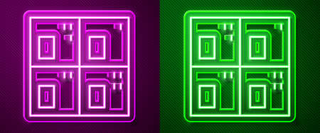 Glowing neon line Periodic table of the elements icon isolated on purple and green background. Vector