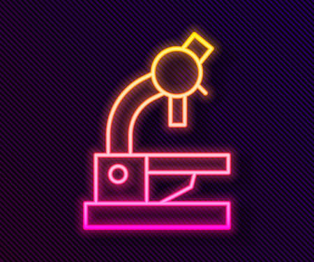 Glowing neon line Microscope icon isolated on black background. Chemistry, pharmaceutical instrument, microbiology magnifying tool. Vector 矢量图像