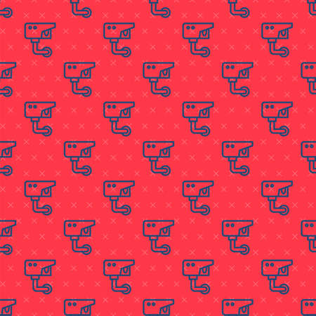 Blue line Security camera icon isolated seamless pattern on red background. Vector
