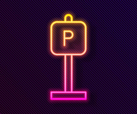 Glowing neon line Parking icon isolated on black background. Street road sign. Vector 矢量图像