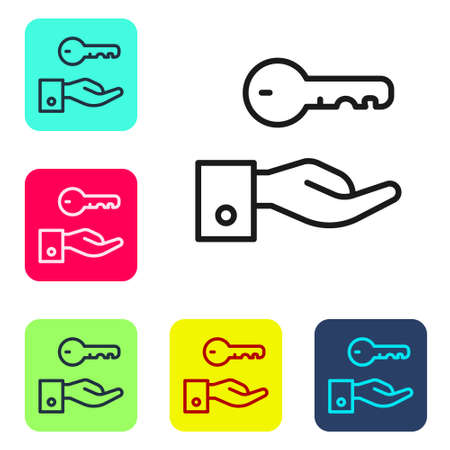 Black line Hotel door lock key icon isolated on white background. Set icons in color square buttons. Vector 向量圖像