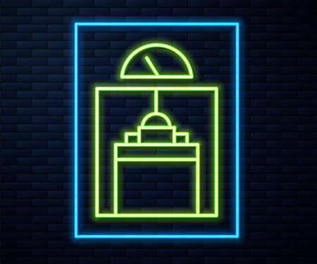 Glowing neon line Lift icon isolated on brick wall background. Elevator symbol. Vector 矢量图像
