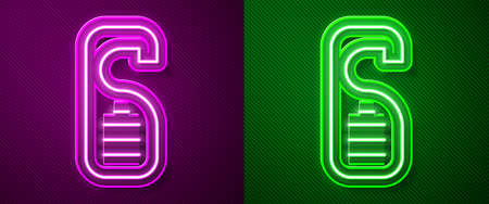 Glowing neon line Please do not disturb icon isolated on purple and green background. Hotel Door Hanger Tags. Vector 矢量图像