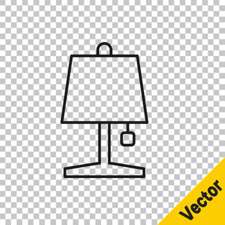 Black line Table lamp icon isolated on transparent background. Vector 矢量图像