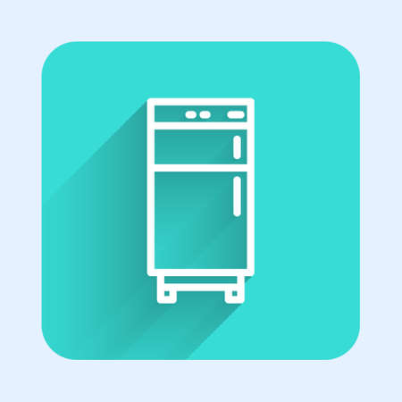 White line Refrigerator icon isolated with long shadow. Fridge freezer refrigerator. Household tech and appliances. Green square button. Vector