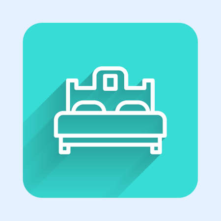 White line Bedroom icon isolated with long shadow. Wedding, love, marriage symbol. Bedroom creative icon from honeymoon collection. Green square button. Vector