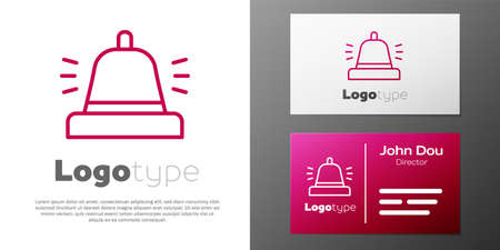Logotype line Hotel service bell icon isolated on white background. Reception bell. Logo design template element. Vector