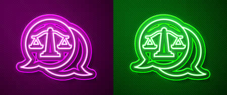 Glowing neon line Scales of justice icon isolated on purple and green background. Court of law symbol. Balance scale sign. Vector 矢量图像