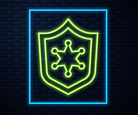 Glowing neon line Police badge icon isolated on brick wall background. Sheriff badge sign. Vector