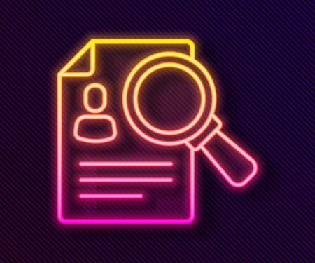 Glowing neon line Document, paper analysis magnifying glass icon isolated on black background. Evidence symbol. Vector
