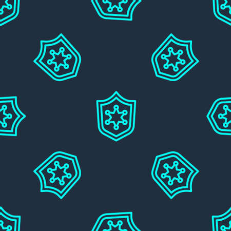 Green line Police badge icon isolated seamless pattern on blue background. Sheriff badge sign. Vector