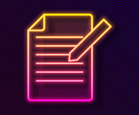 Glowing neon line Document and pen icon isolated on black background. File icon. Checklist icon. Business concept. Vector Ilustrace