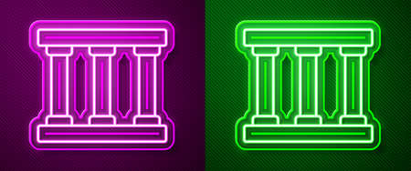 Glowing neon line Prison window icon isolated on purple and green background. Vector Ilustrace