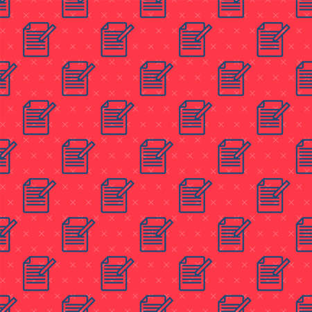 Blue line Document and pen icon isolated seamless pattern on red background. File icon. Checklist icon. Business concept. Vector