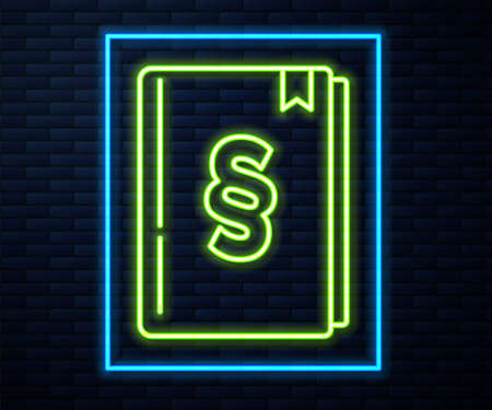 Glowing neon line Law book icon isolated on brick wall background. Legal judge book. Judgment concept. Vector 矢量图像