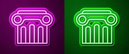 Glowing neon line Law pillar icon isolated on purple and green background. Vector