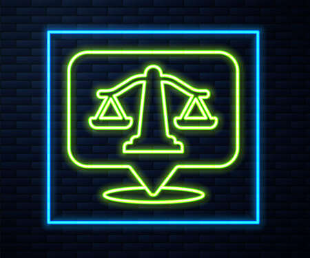 Glowing neon line Scales of justice icon isolated on brick wall background. Court of law symbol. Balance scale sign. Vector