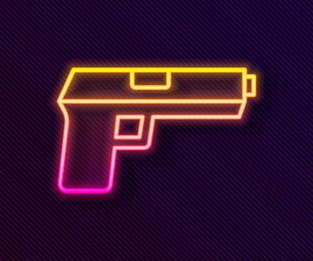 Glowing neon line Pistol or gun icon isolated on black background. Police or military handgun. Small firearm. Vector