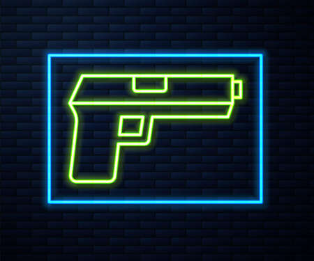 Glowing neon line Pistol or gun icon isolated on brick wall background. Police or military handgun. Small firearm. Vector 版權商用圖片 - 157387787
