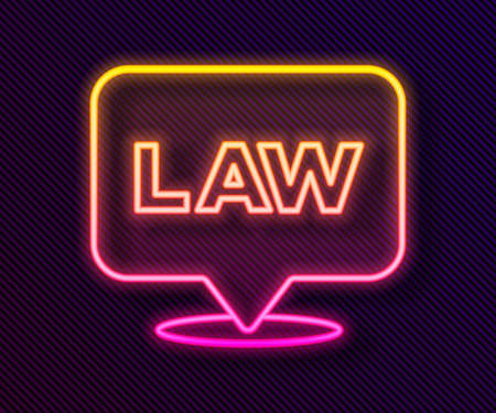 Glowing neon line Location law icon isolated on black background. Vector
