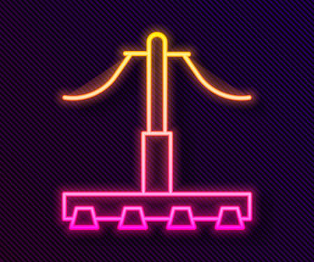 Glowing neon line Railway icon isolated on black background. Railroad overhead lines. Contact wire. Vector 矢量图像