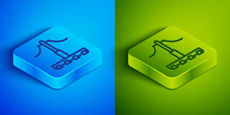 Isometric line Railway icon isolated on blue and green background. Railroad overhead lines. Contact wire. Square button. Vector