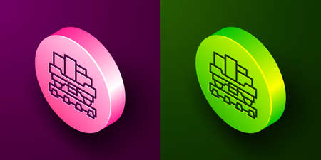 Isometric line Cargo train wagon icon isolated on purple and green background. Full freight car. Railroad transportation. Circle button. Vector