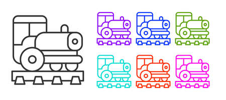 Black line Vintage locomotive icon isolated on white background. Steam locomotive. Set icons colorful. Vector Ilustração