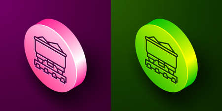 Isometric line Coal train wagon icon isolated on purple and green background. Rail transportation. Circle button. Vector
