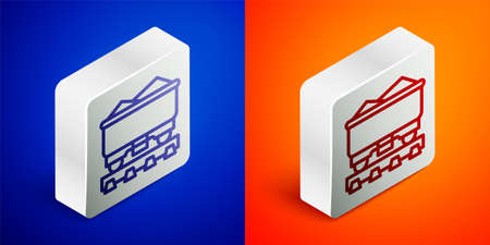 Isometric line Coal train wagon icon isolated on blue and orange background. Rail transportation. Silver square button. Vector