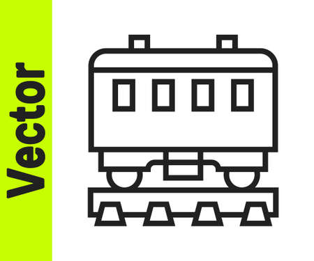 Black line Passenger train cars icon isolated on white background. Railway carriage. Vector