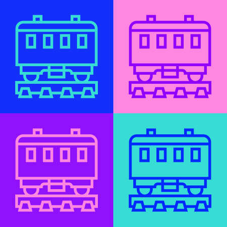 Pop art line Passenger train cars icon isolated on color background. Railway carriage. Vector
