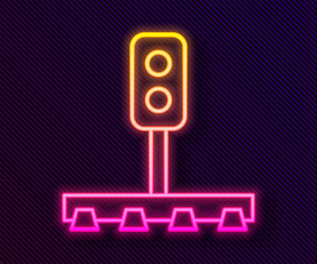 Glowing neon line Train traffic light icon isolated on black background. Traffic lights for the railway to regulate the movement of trains. Vector 矢量图像
