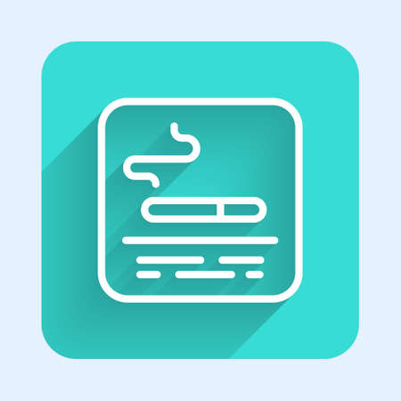 White line Smoking area icon isolated with long shadow. Green square button. Vector