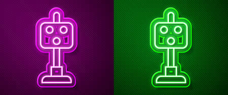 Glowing neon line Train traffic light icon isolated on purple and green background. Traffic lights for the railway to regulate the movement of trains. Vector 矢量图像