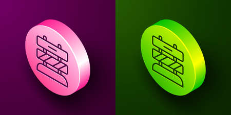 Isometric line End of railway tracks icon isolated on purple and green background. Stop sign. Railroad buffer end to destination. Circle button. Vector