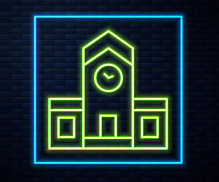 Glowing neon line Railway station icon isolated on brick wall background. Vector 矢量图像
