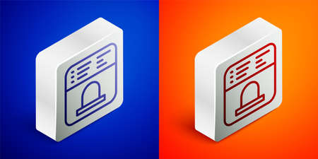 Isometric line Ticket office to buy tickets for train or plane icon isolated on blue and orange background. Buying tickets. Ticket service. Silver square button. Vector Vettoriali